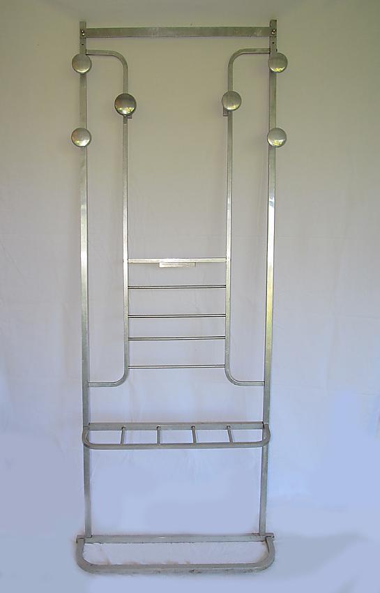 Art deco aluminium wandgarderobe frankreich um 1930 alu for Garderobe querstange